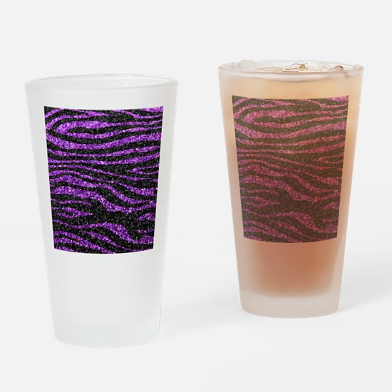 Purple and black zebra stripe Drinking Glass