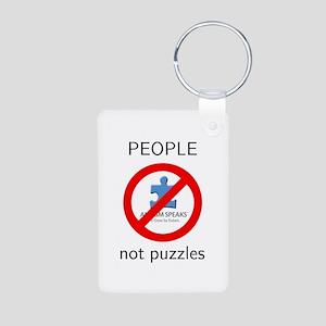 PEOPLE not puzzles Aluminum Photo Keychain