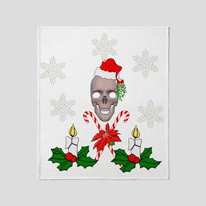 Happy Holidays Christmas Skull Throw Blanket