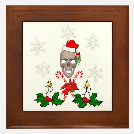 Happy Holidays Christmas Skull Framed Tile
