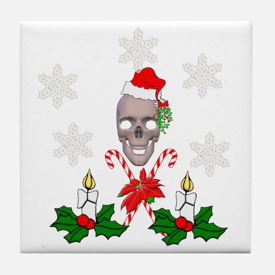 Happy Holidays Christmas Skull Tile Coaster