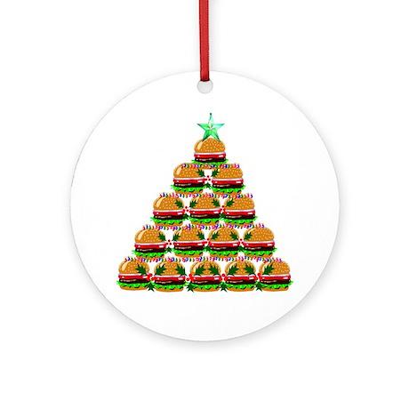 Hamburger Christmas Tree Round Ornament by Admin_CP4663065