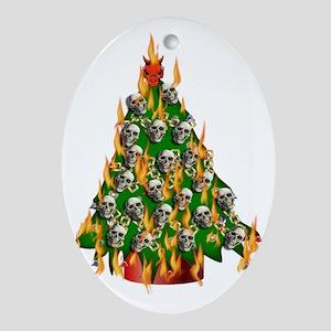 Tree Of Flaming Skulls Oval Ornament