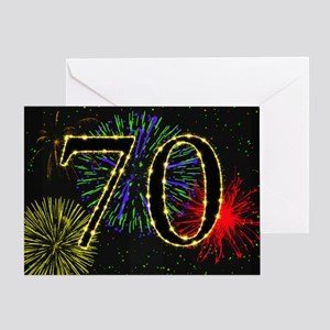 70th Birthday Party Fireworks Greeting Card