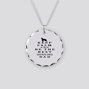 Irish Water Spaniel Dad Designs Necklace Circle Ch