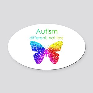 Autism Butterfly, different, not less Oval Car Mag