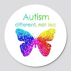 Autism Butterfly, different, not less Round Car Ma