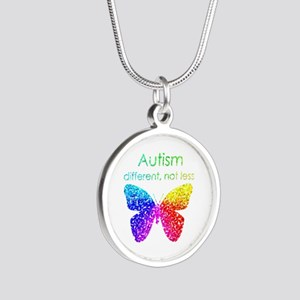 Autism Butterfly, different, not less Necklaces