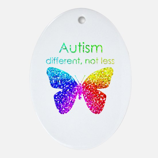 Autism Butterfly, different, not less Ornament (Ov