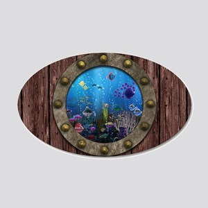 Underwater Love Porthole 35x21 Oval Wall Decal