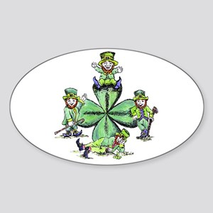 Leprechauns Hanging Out Oval Sticker