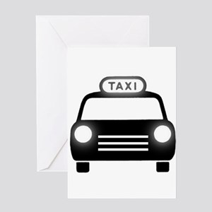 Cartoon Taxi Cab Greeting Card