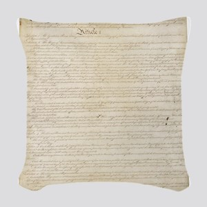 The Us Constitution Woven Throw Pillow