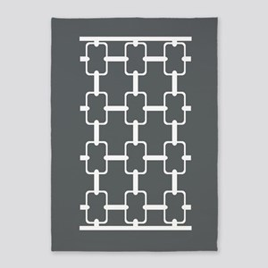 Gray and White Rectangle Links 5'x7'Area Rug