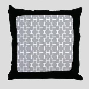 Light Gray White Rectangle Links Throw Pillow