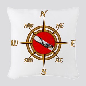 Dive Compass Woven Throw Pillow