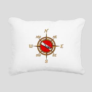 Dive Compass Rectangular Canvas Pillow