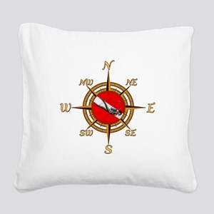 Dive Compass Square Canvas Pillow