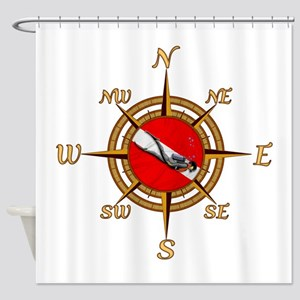 Dive Compass Shower Curtain