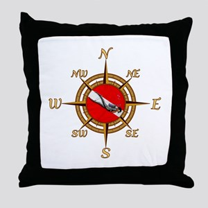 Dive Compass Throw Pillow