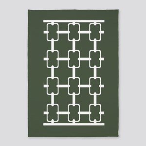 Dark Loden Green Rectangle Links 5'x7'Area Rug