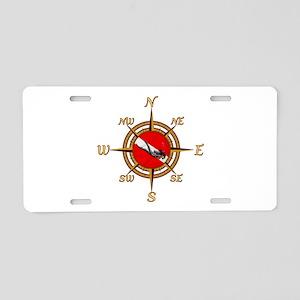 Dive Compass Woman Aluminum License Plate