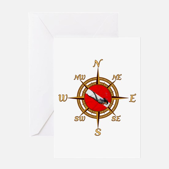 Dive Compass Woman Greeting Card