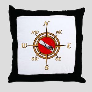 Dive Compass Woman Throw Pillow