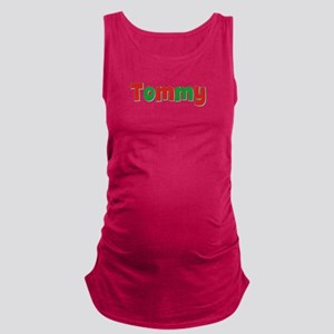 Tommy Christmas Red and Green Maternity Tank Top