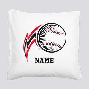 Personalized Baseball Pitch Square Canvas Pillow