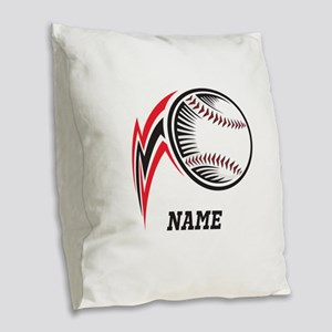 Personalized Baseball Pitch Burlap Throw Pillow