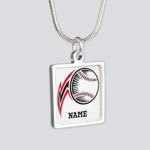 Personalized Baseball Pitch Silver Square Necklace