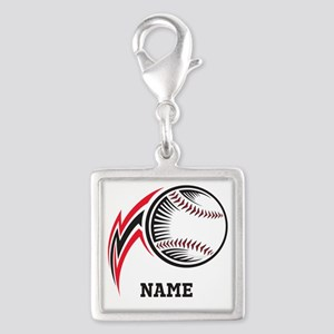 Personalized Baseball Pitch Silver Square Charm