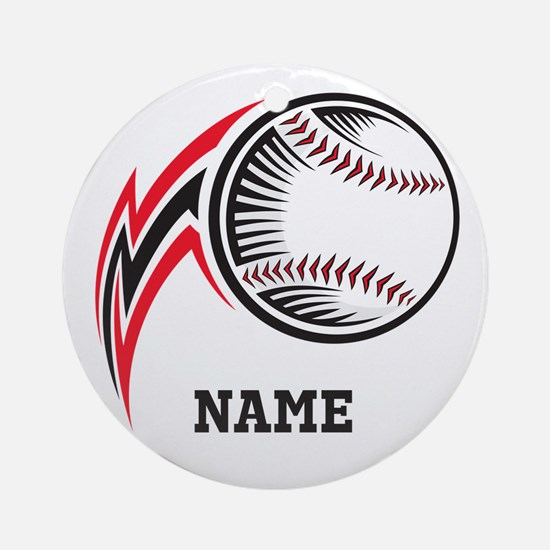 Personalized Baseball Pitch Ornament (Round)