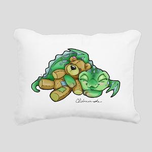 Sleepy Teddy Bear Dragon Rectangular Canvas Pillow
