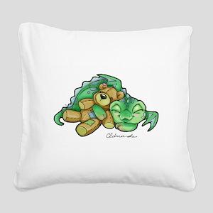 Sleepy Teddy Bear Dragon Square Canvas Pillow