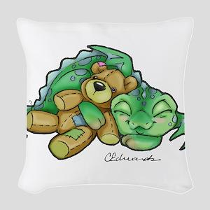 Sleepy Teddy Bear Dragon Woven Throw Pillow