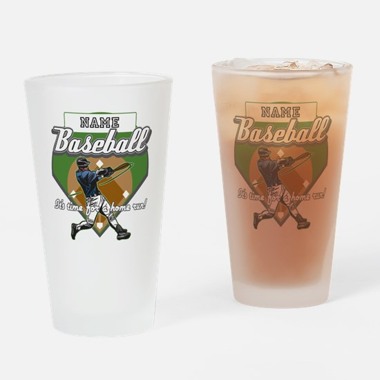 Personalized Home Run Time Drinking Glass