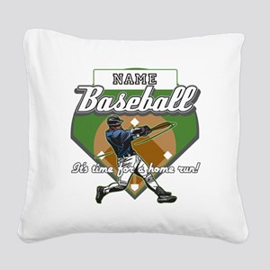 Personalized Home Run Time Square Canvas Pillow