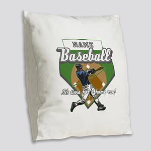 Personalized Home Run Time Burlap Throw Pillow