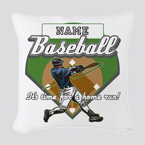 Personalized Home Run Time Woven Throw Pillow