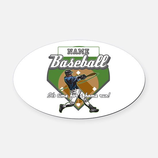 Personalized Home Run Time Oval Car Magnet
