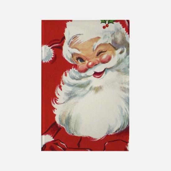 Vintage Christmas, Jolly Santa Cl Rectangle Magnet