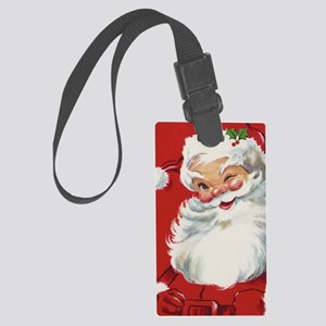 Vintage Christmas, Jolly Santa C Large Luggage Tag