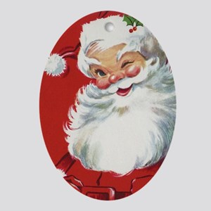 Vintage Christmas, Jolly Santa Claus Oval Ornament