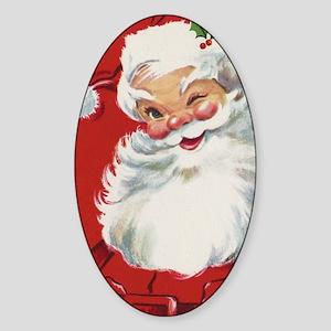 Vintage Christmas, Jolly Santa Clau Sticker (Oval)