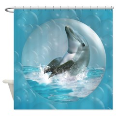 Bubble Dolphin Shower Curtain