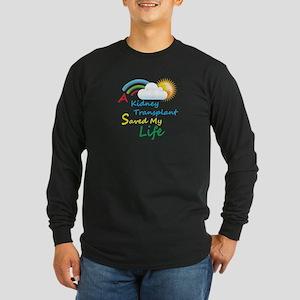 Kidney Transplant Rainbow Cloud Long Sleeve Dark T
