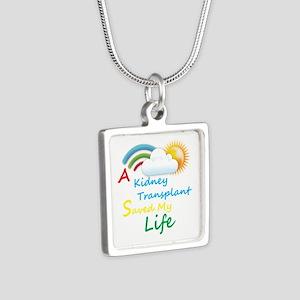 Kidney Transplant Rainbow Cloud Silver Square Neck