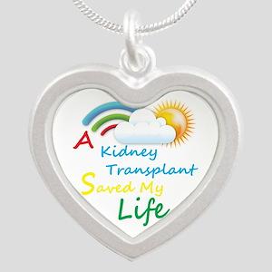 Kidney Transplant Rainbow Cloud Silver Heart Neckl